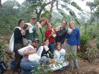 Faculty Todd Little-Siebold and students harvesting coffee in Guatemala.