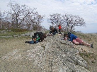Students on a Natural Resources class trip, observing the sheared meta-conglomerate of Mt. Battie, at the Camden Hills State Park.