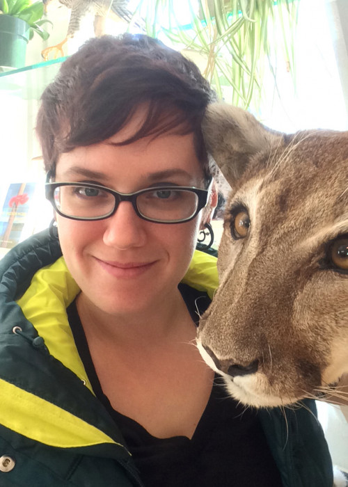 Carrie Graham with Tina the mountain lion