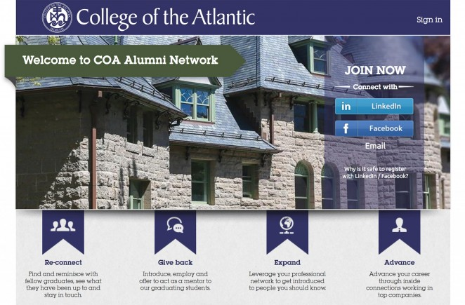 Alumni Network front page