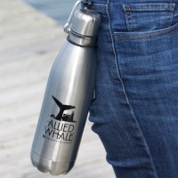 Allied Whale stainless steel water bottle.