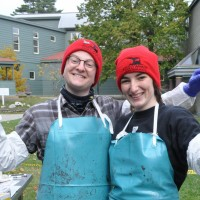 Greyson Shears '17 and Siobhan Rickert '18 wear the knit beanies during a recent marine mammal necropsy.