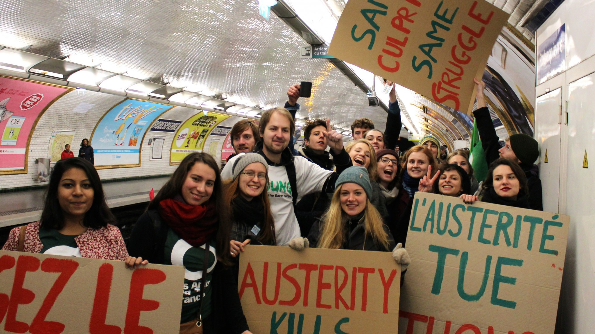 COA students from the Practicing Climate Politics class join the battle for climate justice at COP21 in Paris, December 2015.