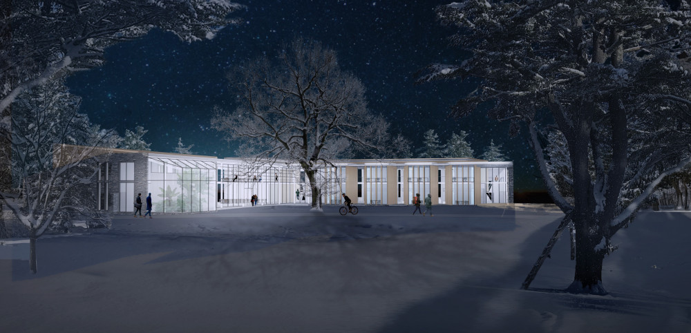 COA's new Center for Human Ecology lights up the winter night and provides inviting spaces to st...