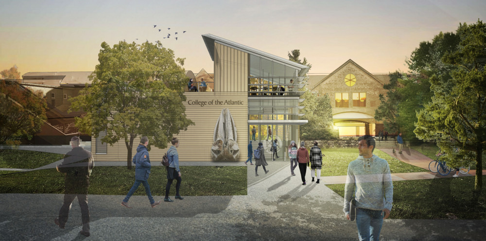 Further phases of the Center for Human Ecology project at College of the Atlantic include construction of an experimental theater, art gallery, propagation greenhouse, and The Landing, a welcome center and entrance plaza housing admissions offices and acting as a front door for the college.