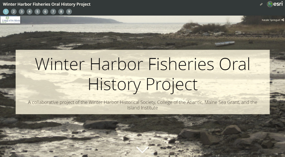 "The final products of Mapping Ocean Stories include a <a href=""https://coagis.maps.arcgis.com/apps/MapSeries/index.html?appid=aa33cbfd131540efb5bfe1ad4dd23dae"" target=""_blank"" rel=""noopener noreferrer"">collaborative map telling the story of the fishing families and businesspeople interviewed by the students,</a> and how these stories interact with the changing profile of the ocean. The map is made with Geographic Information System (GIS) technology and is hosted on <a href=""http://coagis.maps.arcgis.com/home/index.html"" target=""_blank"" rel=""noopener noreferrer"">COA's GIS map library</a>."