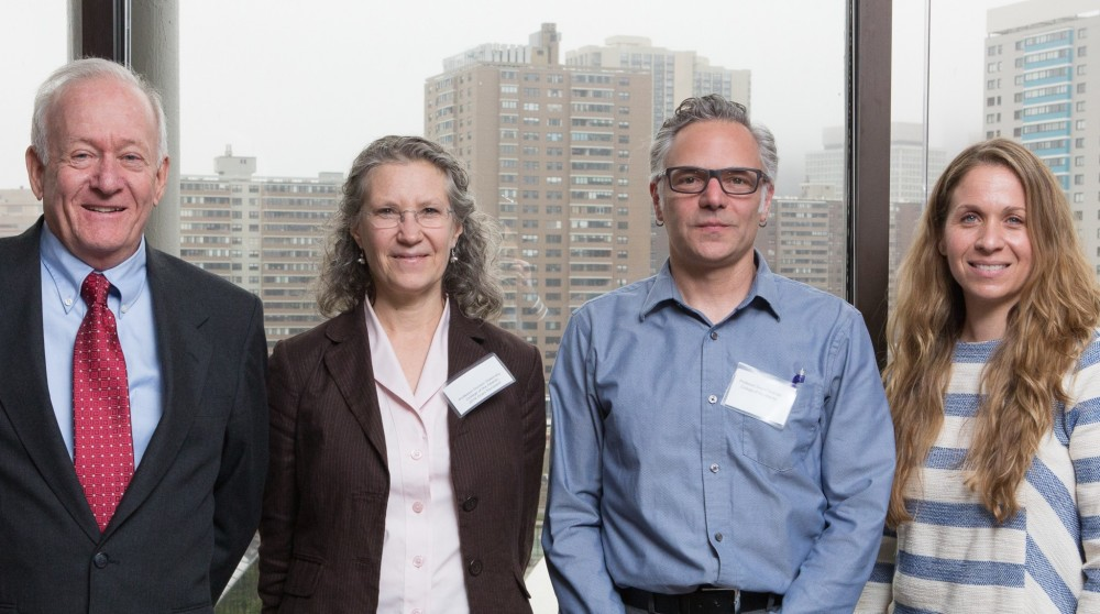 Henry David Thoreau Foundation President John Galvin, left, with College of the Atlantic professors Dr. Doreen Stabinsky and Dr. David Feldman, and Thoreau Foundation Dir. of Programs Dr. Jennifer Galvin, right, at the 2016 Thoreau Foundation Annual Reception, in Boston. Stabinsky, Feldman, and Dr. Anna Demeo will lead the college's new Henry David Thoreau Environmental Leaders Initiative.