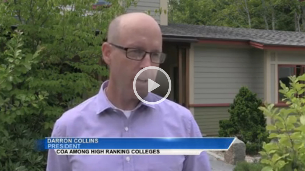 "College of the Atlantic president Darron Collins '92 <a href=""http://www.foxbangor.com/news/item/16323-college-of-the-atlantic-ranked-one-of-the-nation-s-best-institutions"" target=""_blank"">speaks with ABC7/Fox22 about sustainable initiatives</a> at the school. COA receives high marks from the Princeton Review's 2017 ""Best 381 Colleges"" for integrating sustainability into the curriculum."