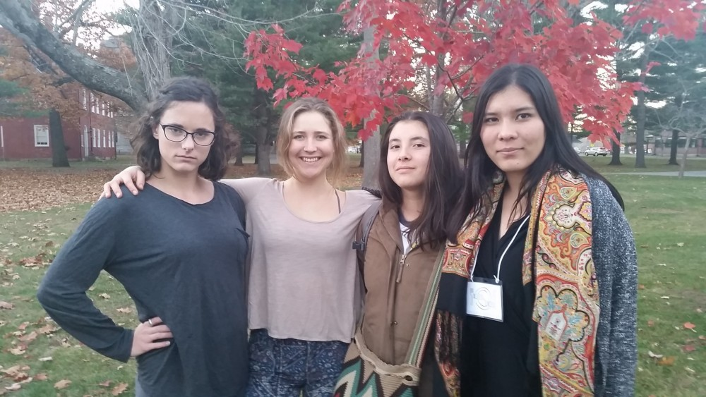 [Re]Produce is a sustainable business venture conceived by College of the Atlantic students, from left, Grace Burchard '17, Lilyanna Sollberger '16, Ana Maria Zabala '20, and Anita van Dam '19. The startup focuses on making use of cosmetically unmarketable and surplus production from local farms. The group took home a shared first place finish, along with $2,500, in the Maine Food Systems Innovation Challenge held at Bowdoin College.