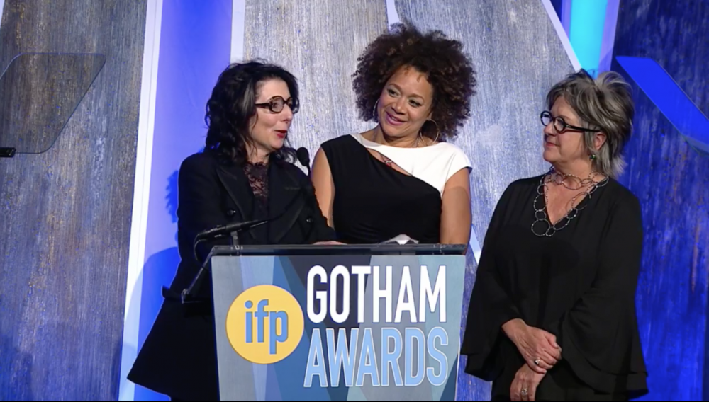 College of the Atlantic film professor Nancy Andrews, left, accepts her 2017 Gotham Award flanked by, center, film star Michole Briana White, and film production designer (and COA design professor) Dru Colbert.