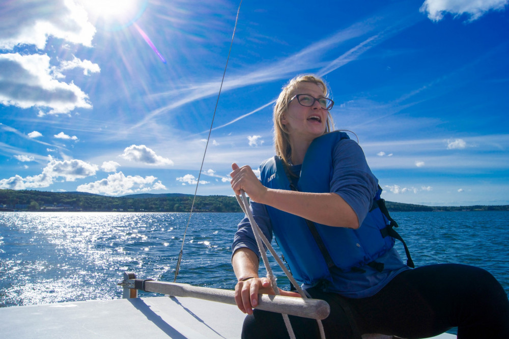 Weronika Grabowska '17 leads weekly sailing expeditions as part of her work study position with...