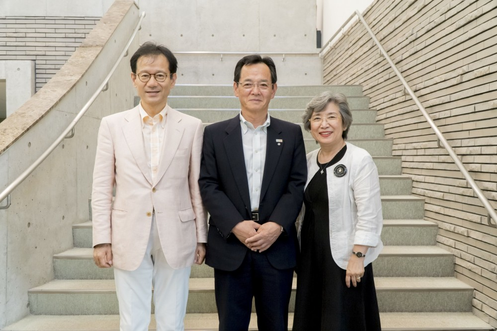A delegation of Japanese educators and officials, including the Mayor of Osaki Kamijima, Yukinori Takata, center, and Dr. Hiromi Nagao, the former president of Hiroshima Jogakuin University, right, are visiting College of the Atlantic as they plan a new college in Japan based on the COA model.