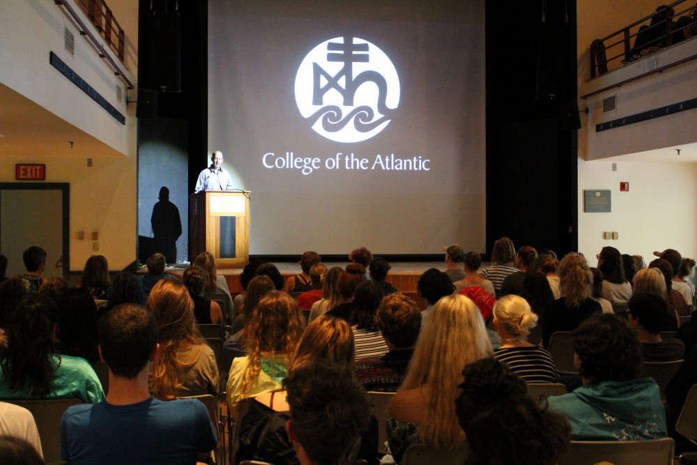 College of the Atlantic students, staff, and faculty fills the Thomas S. Gates, Jr. Community Center for COA Convocation 2017.