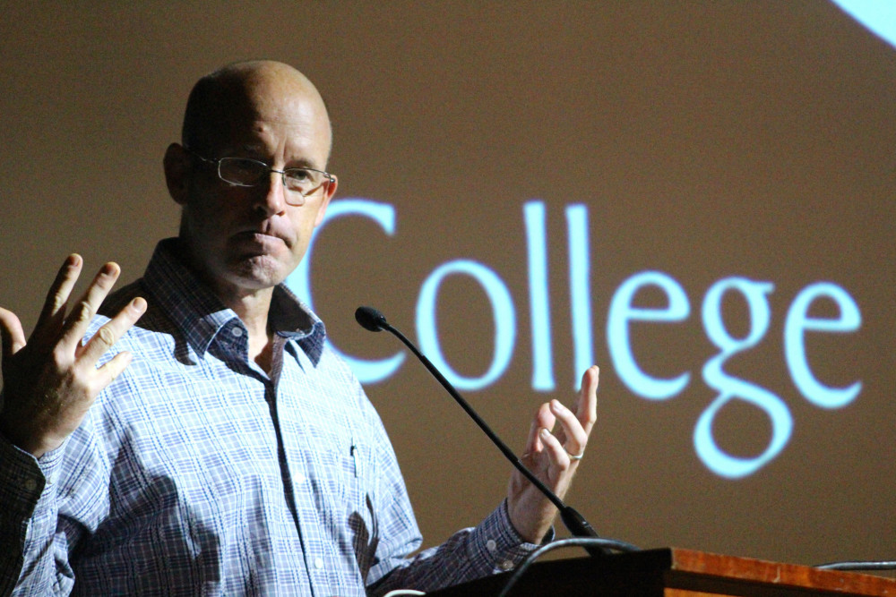 """It is through this meshing, this at-times rocky blending of focus on both self and other, that we develop our true calling, and begin to lend ourselves to that noble occupation of working towards what we know is right in the world"" - College of the Atlantic President Darron Collins '92, speaking at COA Convocation 2017."