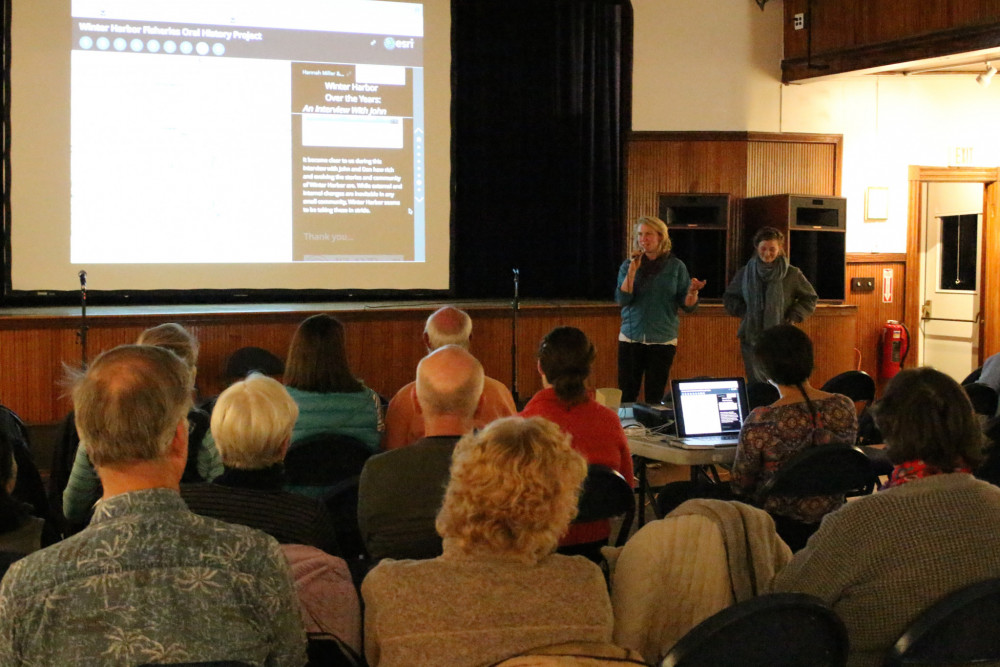 "Students enrolled in Mapping Ocean Stories ended the term with a presentation of their work at an evening event at Winter Harbor's historic Hammond Hall. Their findings and stories were compiled into <a href=""https://coagis.maps.arcgis.com/apps/MapSeries/index.html?appid=aa33cbfd131540efb5bfe1ad4dd23dae"" target=""_blank"" rel=""noopener noreferrer"">a collaborative story map</a>, made with Geographic Information System (GIS) technology."