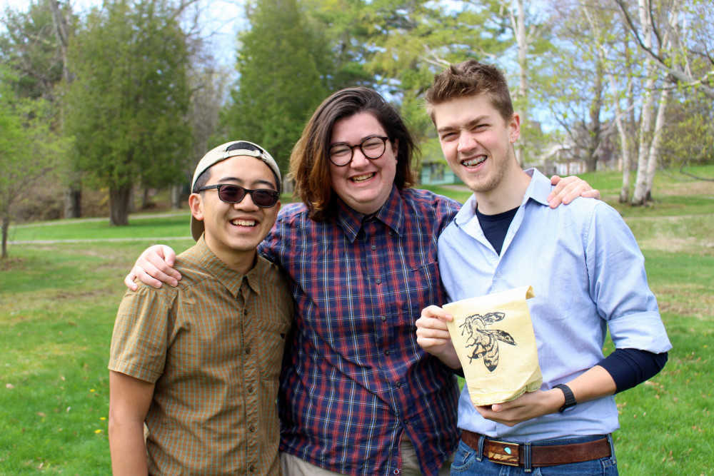 Beehive Mountain Equipment founders Andrew Nguyen '18, left, Margherita Tommasini '18, and J...