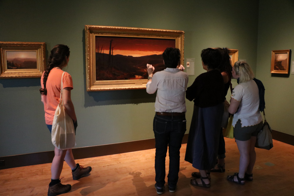 Dr. Catherine Clinger and students observe and analyze Sanford R. Gifford's work at the Thomas C...