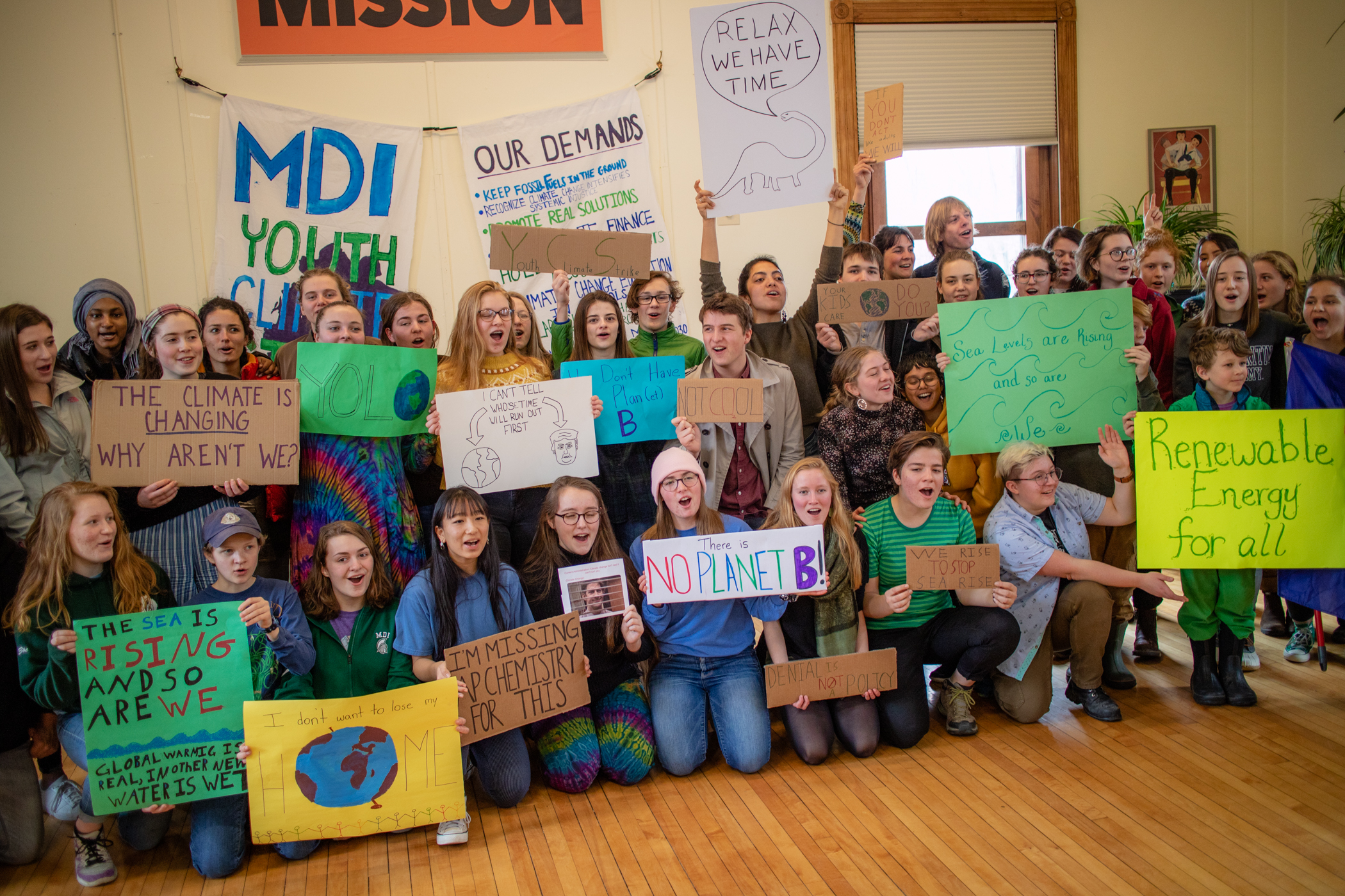 Students from College of the Atlantic and nearby Mount Desert Island High School join to demand a...