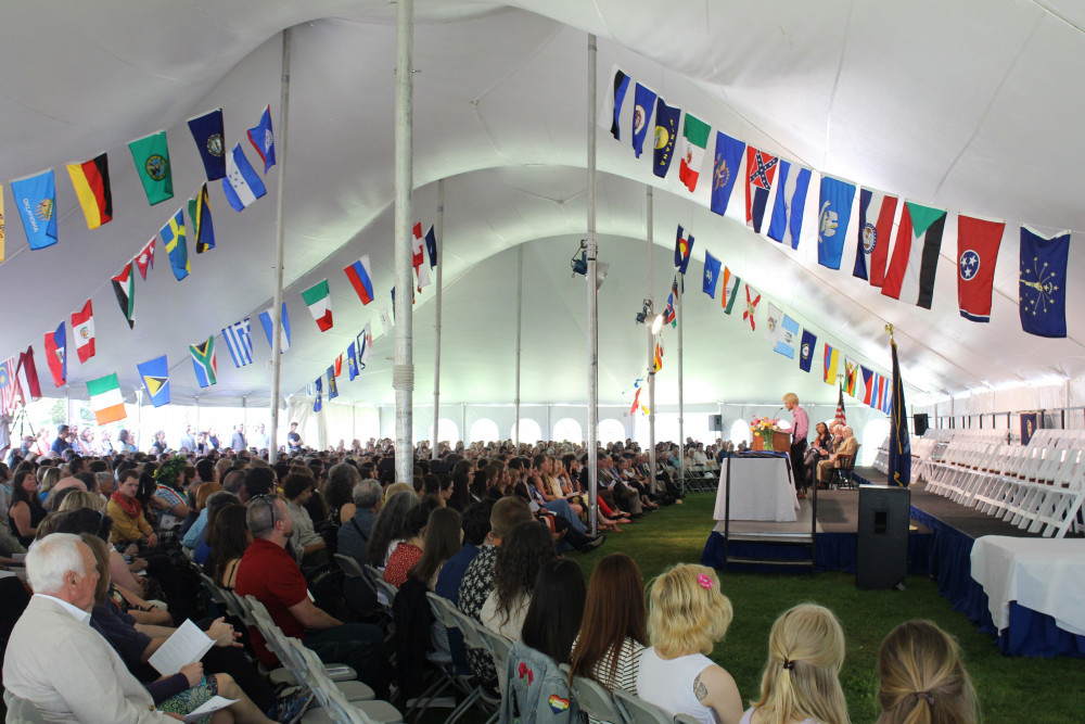 COA commencement is held under a big tent on the school's north lawn.