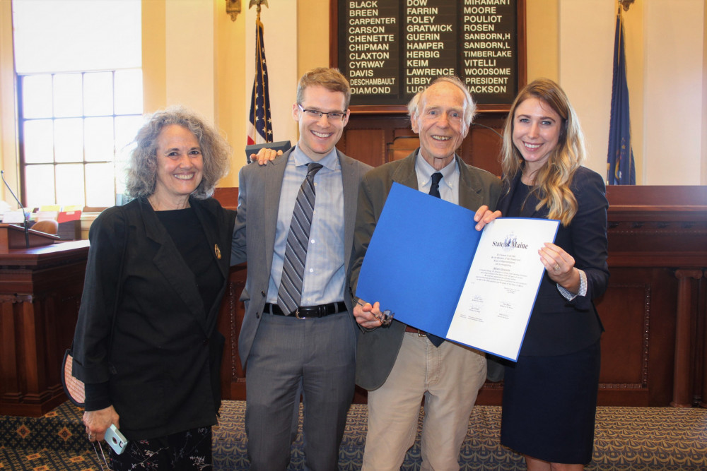 College of the Atlantic founding faculty member William Carpenter is honored with a legislative s...