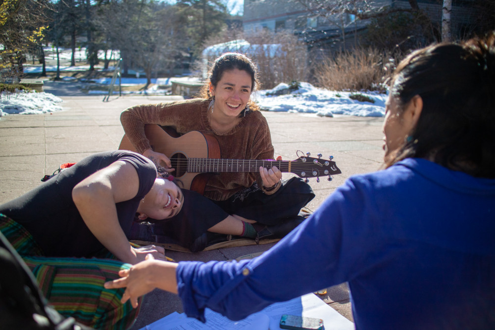 Indiana Núñez Sharer '20 enjoys playing guitar and spending time with friends on the Red Bric...