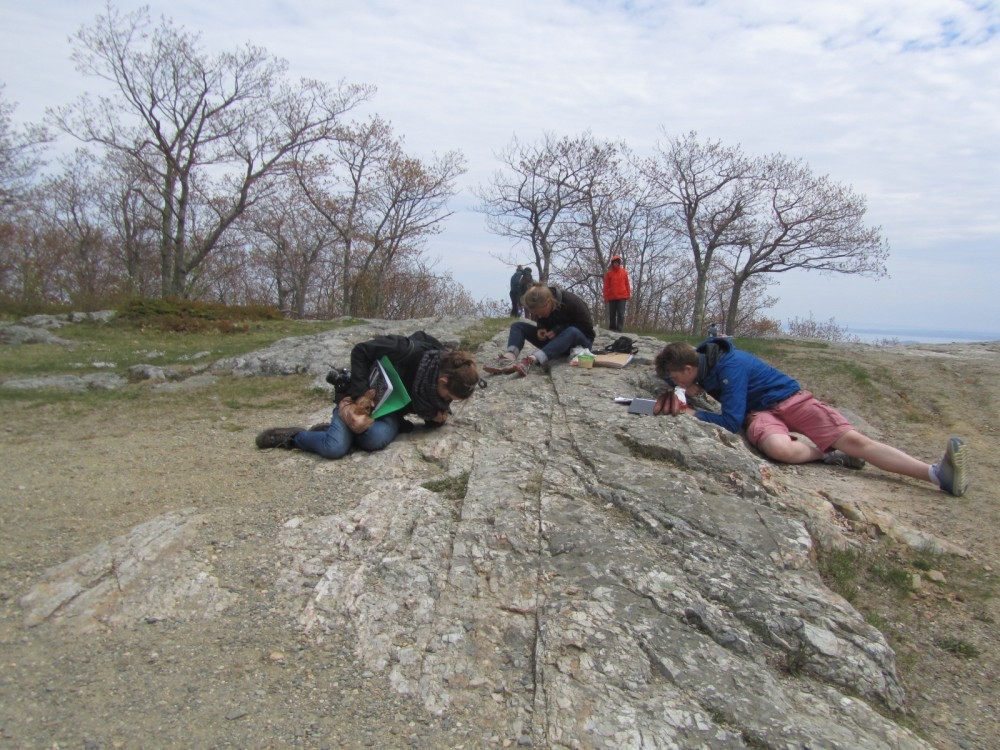 "COA students translating their rock and mineral identification skills from the classroom to the field, at Camden Hills State Park, ME. COA is part of a collaborative, <a href=""/live/news/909-national-science-foundation-awards-field-based"">$340,733 National Science Foundation program</a> to offer environmentally focused students real world STEM field and professional skills. The program at COA is led by Anne T. and Robert M. Bass chair of Earth Systems and Geoscience <a href=""/live/profiles/1132-sarah-r-hall"">Dr. Sarah Hall</a>."