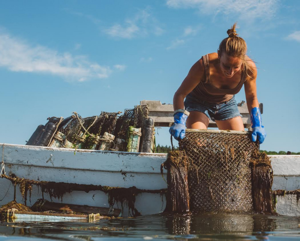 While taking a break from studying microfiber pollution, Abigail Barrows MPhil '18 grows oysters on Long Cove Sea Farm in Stonington, Maine. Her work has been featured on Lifetime's Her America series.