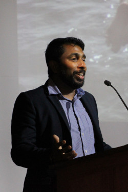 Dr. Nishad Jayasundara '05 urges College of the Atlantic students to use the power at their fi...