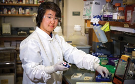 PHOTO: DAVID CLOUGH  Yuka Takemon, a College of the Atlantic graduate, parlayed two academic year fellowships into a job as a research assistant at the Jackson Laboratory in Bar Harbor.