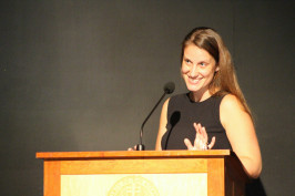 Amy Hoffmaster '06 speaking at Convocation 2015.