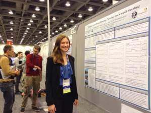 Natasha Krell, '16 presenting her poster at the international AGU meeting in San Francisco, December 2014.