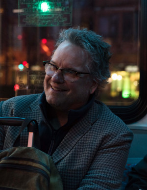 Bateau Press Editor in Chief Dan Mahoney rides the bus back into Washington, D.C. after a long day at the Association of Writers & Writing Programs Conference & Bookfair.