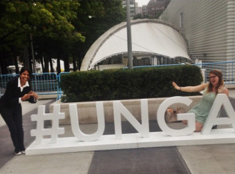 Jenna Farineau '18 (right) outside the UN Headquarters in New York.