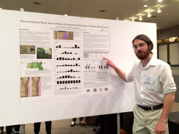 "Ian Medeiros '16 presents his work, ""Documenting the rocks, soils, and biota of serpentine outcrops, in Western Massachusetts,"" at the Northeastern Section of the Geological Society of America's 51st annual meeting in Albany, NY."
