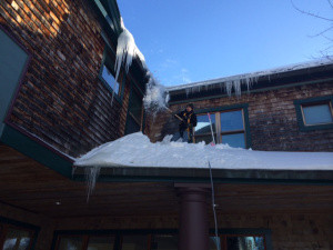 Gus DenDanto '19, (son of Megan Smith '90 and Dan DenDanto, class of '91), shoveling off the roof — don't worry,...
