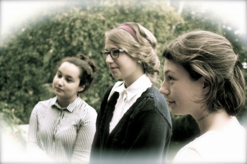 Nichole Francia '19, Heather Sieger '19, and Beatrice Butler '19 embody their historical roles during a 1907 reenactment d...