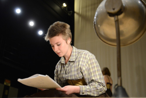 "Sophie Cameron '17 rehearses her part as Ms. Saint in ""Telephone."""