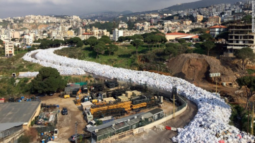 A mounting trash crisis Lebanon clogs a Beirut road with garbage.