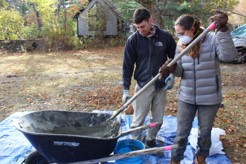 Yaniv Korman '18, left, enlisted the help of College of the Atlantic's Gardening Club over the ...