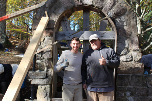 The restoration project was spearheaded by College of the Atlantic senior Yaniv Korman '18 (left). <em>Creative Stone </em>owners Gibran Buell (right) and Alyssa Abbott brought their know-how to the project.