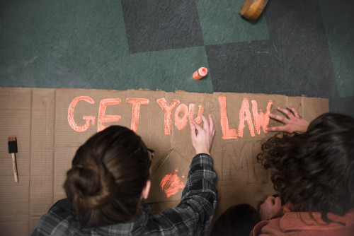 In creating signs to be displayed at the Women's March on Washington, many College of the Atlantic students find an excellent method of combining their creative and political passions.