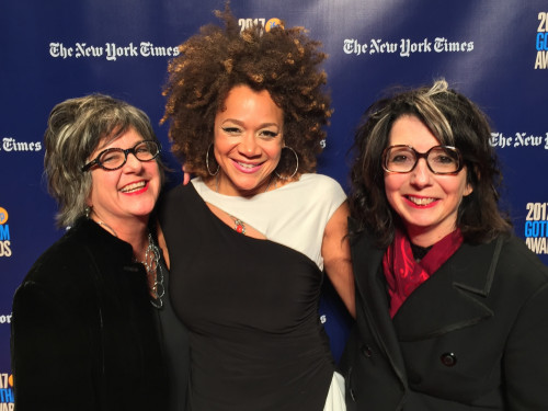 "College of the Atlantic design professor Dru Colbert, left, actress Michole Briana White, and COA film professor Nancy Andrews gather on the red carpet at the 2017 Gotham Independent Film Awards. Andrew's film, ""The Strange Eyes of Dr. Myes,"" was named Best Short Form Breakthrough Series."