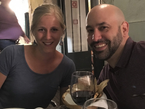 Kali Lamont '18 and Andrés Jennings '07 connect over refreshments at the 23rd SHE conference.
