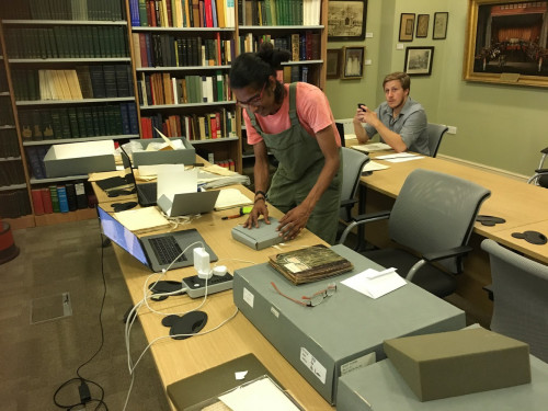 Aadityakrishna Sathish '19 interns inside the library of the Royal Asiatic Society in London, Eng...