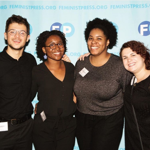 Halle Smith '20 with co-workers from Feminist Press at City University of New York, a nonpro...