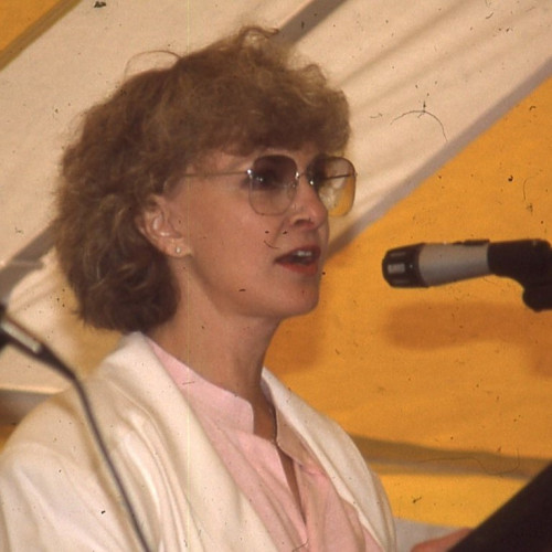 Actress and producer Joanne Woodward gives the keynote address at the 1987 College of the Atlanti...