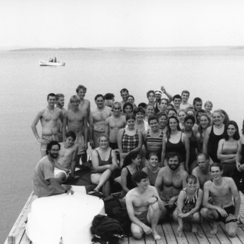 Professor Ken Cline and a group of early Bar Island swimmers, sometime in the early 1990s.