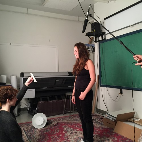 Students videotape pitches for Port of Est music video.