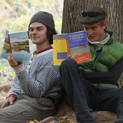 Galen Hecht '16 (left) and Mark Fawcett-Atkinson '17 reading up in preparation for their documentary about the lands and w...