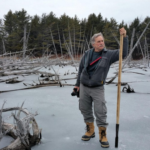 College of the Atlantic biology professor Steve Ressel leads the way as members of his Winter Ecology course begin an...